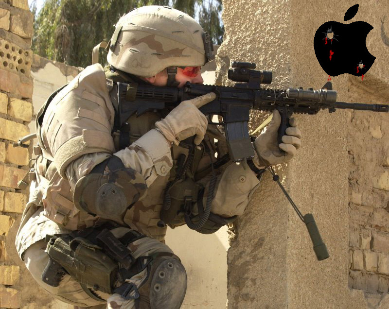 Soilder on wall with apple logo