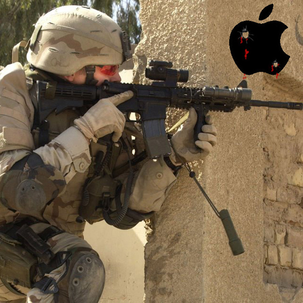Soldier on wall with apple logo